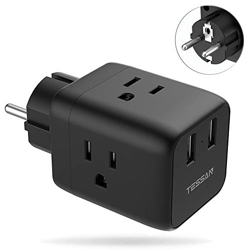 France Germany Power Plug Adapter, TESSAN Schuko Travel Adaptor with 2 USB Phone Charger 3 American Outlets, US to Europe Korea Russia Spain Iceland Wall Adapter (Type E/F)