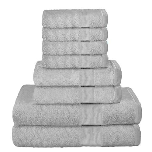 Elvana Home 8 Piece Towel Set 100% Ring Spun Cotton, 2 Bath Towels 27x54, 2 Hand Towels 16x28 and 4 Washcloths 13x13 - Ultra Soft Highly Absorbent Machine Washable Hotel Spa Quality - Light Grey