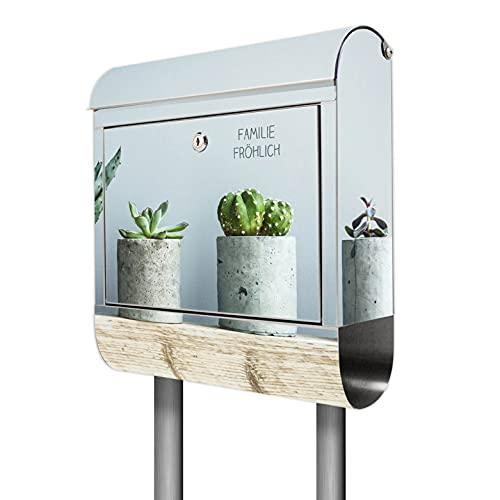 banjado® Briefkasten mit Standfuß personalisierbar Motiv Kakteen in Beton - Stand Briefkasten Edelstahl mit Zeitungsfach - Postbox/Postkasten A4 Einwurf inkl. Montagematerial & 2 Schlüssel