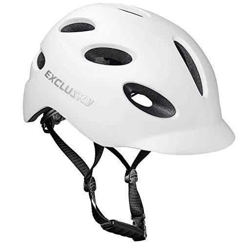 Exclusky - Casco de bicicleta para adultos con luz de seguridad USB recargable, para desplazamientos urbanos, con certificación CE, blanco