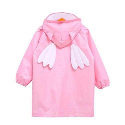 Vine Bambini Pioggia Cappotto Unisex Impermeabile Coprizaino Poncho Giacca da Pioggia con Cappuccio per Ragazze & Ragazzi, M/per 4-6 Anni