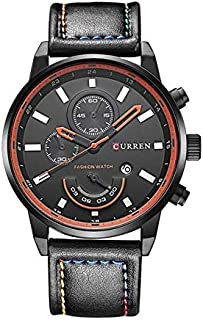 Curren Casual Watch For Men Analog Leather - 8217 - Black