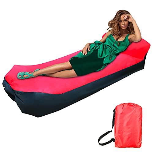Sofa Hinchable, impermeable sofá de aire tumbona portátil de aire, sofá de aire con bolsa de transporte Portátil Impermeable Ligero cama camping para Viajes, Piscina, Camping, Parque, Playa(rojo)
