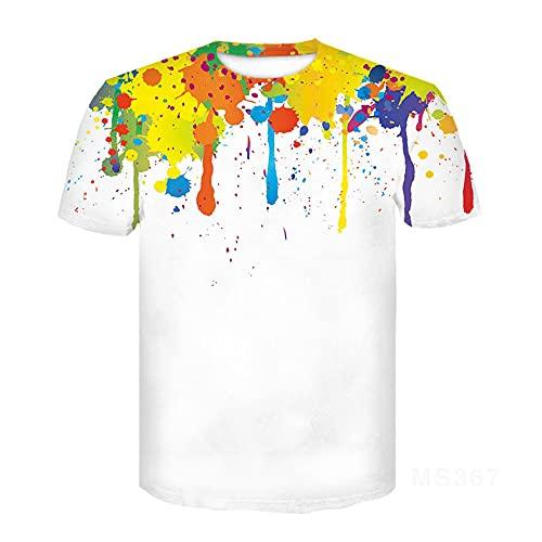 Camiseta Hombre Tendencia Estampado Casual Verano Hombres Tops Estampado De Tinta Juventud Streetwear Manga Corta Cuello Redondo Elegante Camiseta Deportiva MS367 M