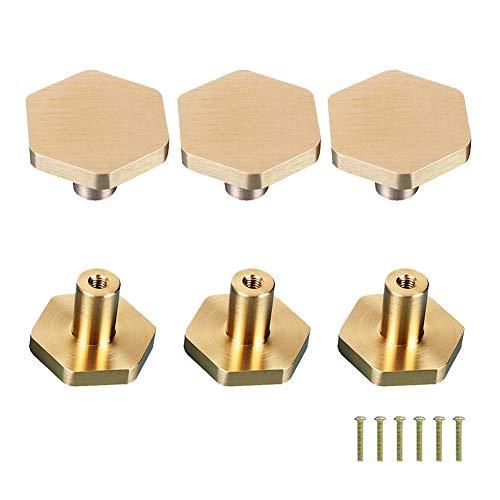 LACKINGONE 6 pomelli esagonali in ottone per cassetti e cassetti, di alta qualità, per porte, armadi, cassetti, maniglie per mobili (6 pezzi)