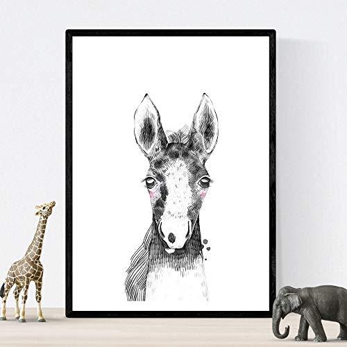 Kinderblad paard zwart-wit baby, peuter posterformaat A4 Unframed