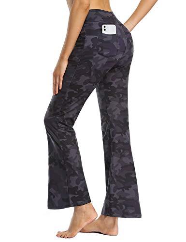 MOVE BEYOND Pantalones de Yoga Bootcut para Mujer con 4 Bolsillos Pantalón Corte de Bota de Cintura Alta para Vestir Pilates Fitness Entrenamiento, Largos, Camuflaje, L