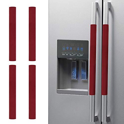 Nuovoware [4PZS] Cubiertas para Manijas de Puerta de Refrigerador, Electrodomésticos Guantes, Protectores Antideslizantes de Cocina, Horno, Microondas, Lavaplatos, Paño de Puerta - Rojo