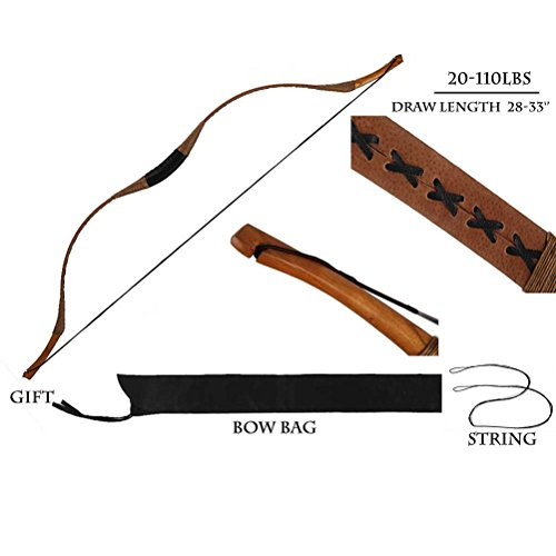 PG1ARCHERY Traditional Archery Recurve Bow Longbow Basic Handmade Pig Leather Horsebow Long Bow Left and Right Handed for Hunting Practice Target 30lbs