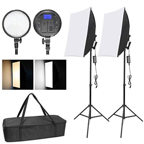 Wisamic Foto LED Softbox Fotostudio Set: 48W Dimmbar Lampe Tageslicht Warmes Licht Soft Box mit Batterie Fach für Video Studio Porträt Professionell Produktfotografie Draußen Fotografie Beleuchtung