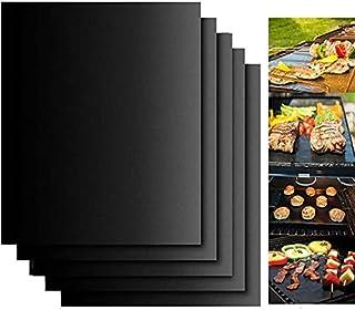 Gyvazla Tapis de Cuisson, Set de 5 Tapis de Cuisson pour Barbecue et Four- 40cm*33cm Feuilles Anti-adhérent de BBQ et Feui...