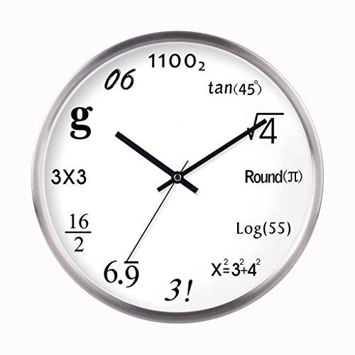 GAOLILI Formules mathématiques Horloges Salon Art créatif Horloge murale Chambre Mute Quartz Horloge ( Couleur : Silver )