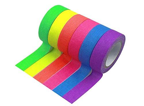 BIYUN 6 Stück Fluorescent Tape,Neon Fluoreszierend Klebeband,Gewebeband Gaffer Tape,Neon Gewebeband Tape,Fluoreszierendes UV aktiv Tape,UV Schwarzlicht Klebeband für Parteien Dekorationen(15mmX5M)