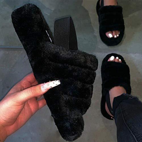 SKDHGFKAJSHJFKDHJK Vrouwen Pluche Slippers Zomer Platte Bodem Outdoor Sandalen Open teen Comfortabele Slides Casual Dames Indoor Schoenen Nieuw