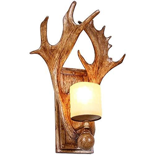 LLLKKK Lámpara de pared retro para salón, pasillo, dormitorio, mesita de noche, lámpara de pared, con cuernos