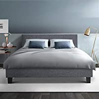 Queen Bed Frame, Fabric Timber Slats Bed Base, Grey