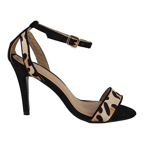 Elegante Damen Sandaletten High Heels Braut Party Print Plateau Schleifen Abschlussball Schuhe 130862 Schwarz Leopard 41 Flandell