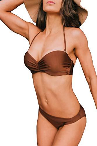 Ava Mia Damen Bikini Set vorgeformtes Bandeau-Bikinitop mit Bikinihose Low Farbe Braun M