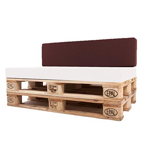Arketicom Pallet One CHEOPE - Respaldo Cojin Sofa en Palet tejido OUTDOOR Impermeable y Desenfundable - interior Espuma de Poliuretano Alta Densidad Alta Densidad Semi Rigido Made In Italy Hecho a ManoMedidas 80x30x15 Cm: Color 34-Burdeos