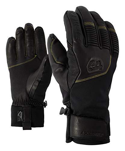 Ziener Herren GANZENBERG AS(R) AW Glove Alpine Ski-Handschuhe/Wintersport, Wasserdicht, Atmungsaktiv, Black/Citrus, 9,5