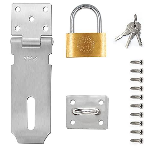 QIQN - Candado de seguridad con cierre de puerta y tornillos, acero inoxidable 304, 10,2 cm, color plateado