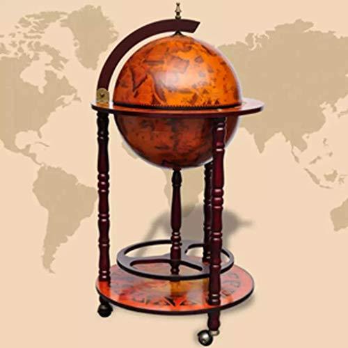 vidaXL Solid Eucalyptus Wood Globe Bar Wine Stand 16th Century
