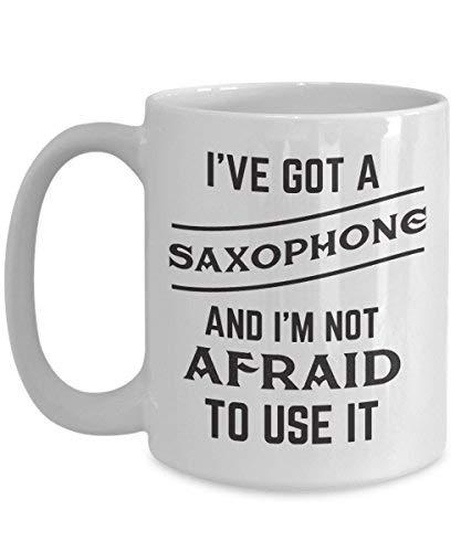 Queen54ferna Taza de té de cerámica para saxofón, ideal para los jugadores de alto tenor, barítono, bari, saxo, taza de té temática, cumpleaños para hombres o mujeres