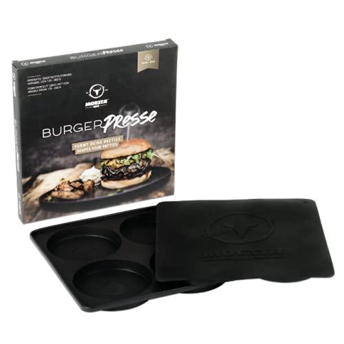 Moesta-BBQ 10361 - BurgerPresse No. 1-4-Fach Hamburgerpresse aus Silikon für Burger-Patties bis 125 mm Durchmesser