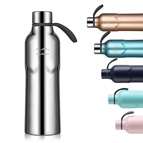 FEIJIAN 600ml Trinkflasche Vakuum Isolierte Edelstahl Wasserflasche doppelwandige BPA-frei auslaufsichere Sportflasche Thermosflasche für Sport Outdoor Camping Fahrrad Fitness Yoga Schule