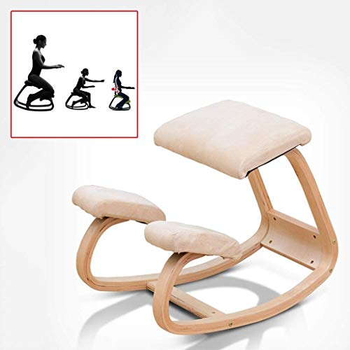 Sedie inginocchiate Sgabello ergonomico con bilanciere a dondolo Sgabello in legno - Migliora la tua postura con un sedile inclinato, stabile per prevenire lo slittamento laterale (Colore: bianco, Dimensioni: 70 * 50 * 32 cm)