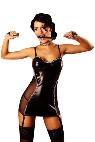Lolitta Dessous schwarzes Kleid Naughty L/XL mit String aus Lederimitat von Lolitta Dessous