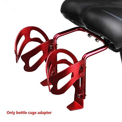 Adaptador portabidón Conversión soporte doble peso ligero Montaje resistente al desgaste universal Accesorios bicicleta Asiento Antideslizante Durable Al aire libre Aleación aluminio Montar(rojo)