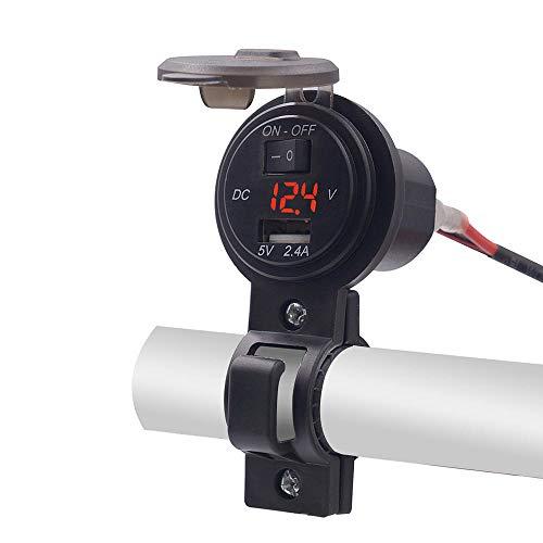 Fankr Stuurstopcontact voor motorfiets, USB-poort, waterdichte oplader, DC 12 V, 24 V, 2,4 A, met digitale voltmeterschakelaar voor motorfiets, auto en boot