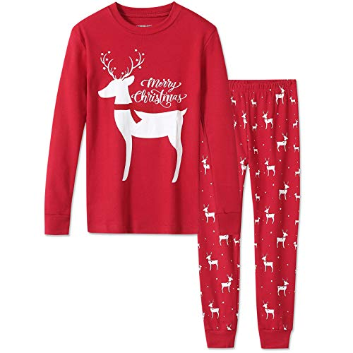 DAUGHTER QUEEN Christmas Pajamas for Girls, Baby 18M-12 Toddler Kids 100% Cotton Pjs Set Sleepwear(4T,Reindeer)