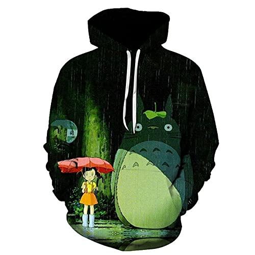 XKDWAN Unisexo Sudaderas con Capucha 3D Impresa Totoro Pullover Manga Larga Colorida Novedad Hoodie Sweatshirt con Bolsillos Cordón S-6XL,006,L