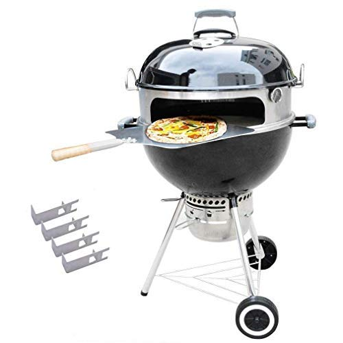 """Onlyfire BRK-6023 Pizza Oven Conversion Kit for 57 CM/22.5"""" Kettle Grills and Smoker, stainless steel ring with thermometer, pizza stone, aluminum pizza peel"""