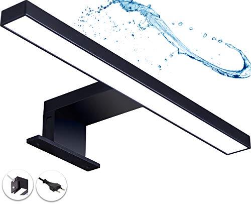 LED Spiegelleuchte mit Stecker Badleuchte Badezimmer Schminklicht Schwarz Matt Wandleuchte Aufbauleuchte Schrank-Beleuchtung Klemmleuchte neutral-weiß 230V 220LM IP44 300 mm