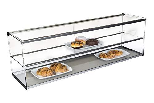 Vitrinas Gomez - Vetrinetta espositiva da banco neutra in alluminio con ripiano - Vetrina espositore bar (120 cm, Nero)
