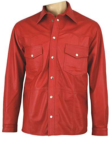 Fuente Leather Wears Molto in pregiata Camicia da uomo in camicia da donna in 100% Vera Pelle Aniline Rosso