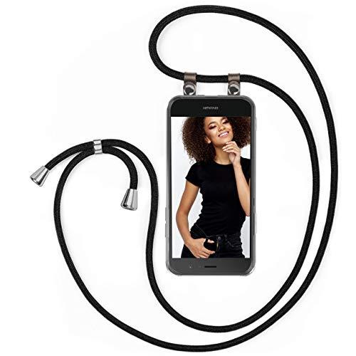MoEx Handykette für Huawei P9 Lite Handyband Hülle mit Band zum umhängen Kordel Handyhülle mit Kette Necklace Silikon Case Handykordel Umhängehülle Handy Schutzhülle - Schwarz