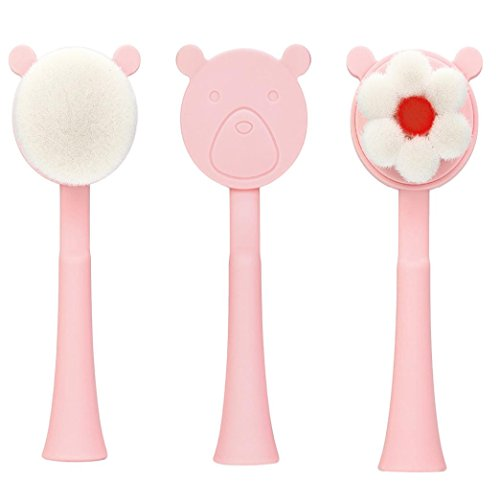 Brosse Visage Douce Face Brush Cleaning Cute Manuel Exfoliating Facial Brush Soft Nettoyage et Massage Profonde Cleanse Pores BY OverDose (Rond)
