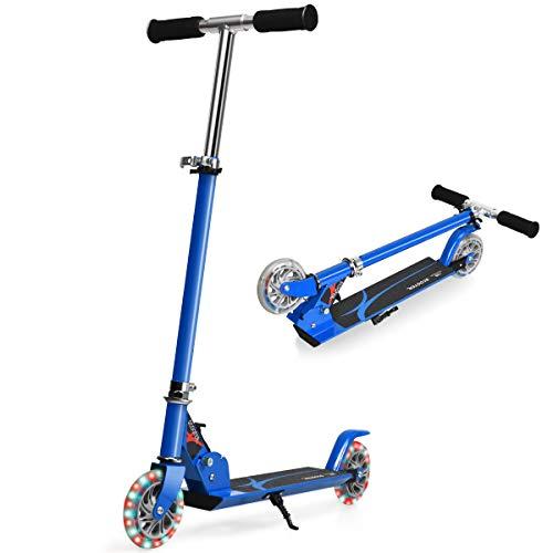 COSTWAY Scooter höhenverstellbar, Kinder Roller klappbar, Kickroller mit 2 blinkenden Räder, Tretroller, Kinderroller, Cityroller für Kinder ab 4 Jahre (Blau)