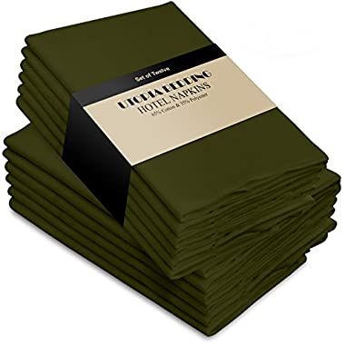 Utopia Bedding Cotton Dinner Napkins - Olive - 12 Pack (18 inches x 18 inches) - Soft Comfortable - Durable Hotel Quality - Ideal Events Regular Home Use