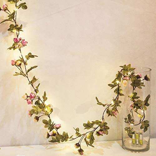 LALALY 6.6ft Artificial Rose Flower Garland - Christmas Wisteria Garland Fake Green Leaf Ivy Vines with LED Lights for Room Wedding Party Garden Wall Outdoor Greenery Wall Home Garden Office Decor