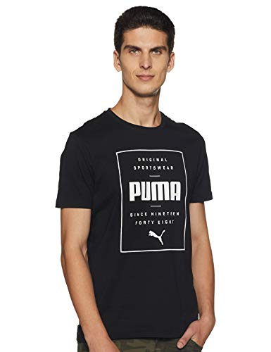 Puma Herren Box Tee T Shirt, Cotton Black, XXL