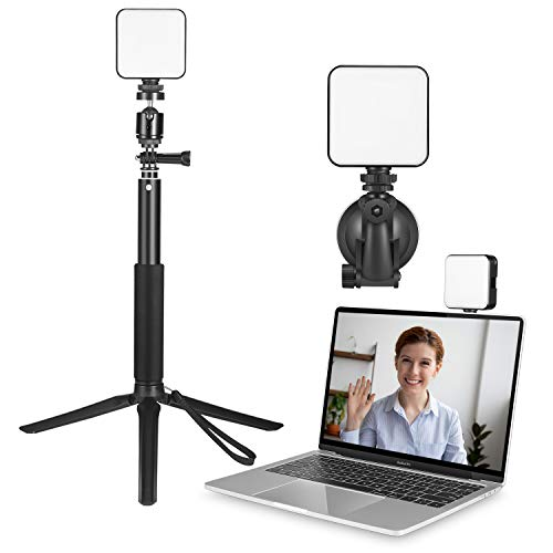 Video Conference Lighting Kit, Foxin Light for Video Conferencing, Lighting for Remote Working/Video Conferencing, Zoom Calls/Self Broadcasting/Live Streaming with Tripod Stand & Suction Cup