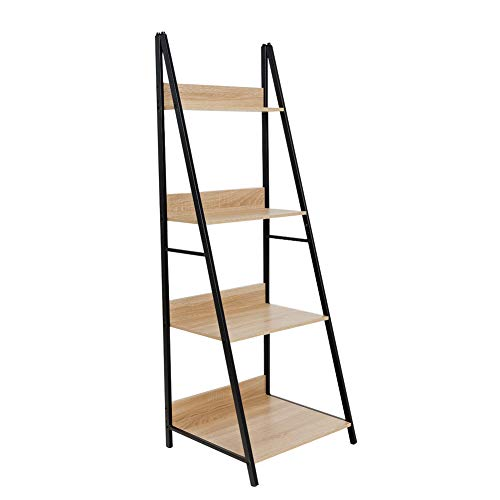 C-Hopetree Ladder Shelf Bookcase - Bookshelf - 4 Tier Plant Stand - Black Metal Frame