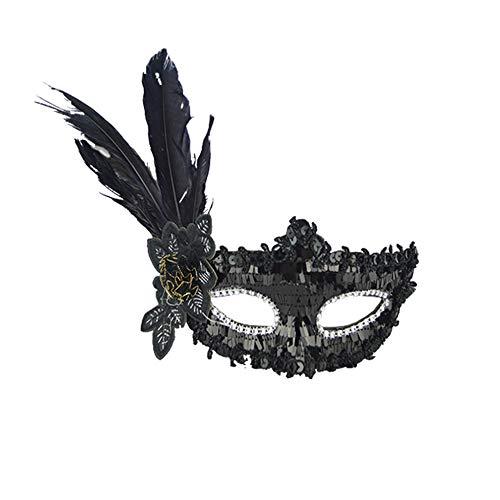 STRIR Máscara de Lentejuelas de plumas para Mujeres Antifaz de Carnaval Halloween Disfraces Juguetes para pareja (Negro)