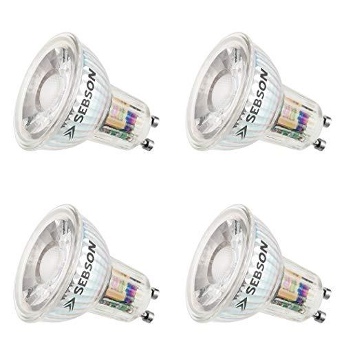 SEBSON® Ra 95 Serie + flimmerfrei, GU10 LED Lampe 5W warmweiß, ersetzt 35W, 380lm, 3000K, 230V LED Leuchtmittel, ø50x54mm, 4er Pack