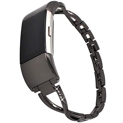 YWZQ Cinturino Compatibile con Fitbit Charge2, Abbigliamento Elegante dell'Acciaio Inossidabile della vigilanza con Strass Catena Wristband di Ricambio Trasposizioni Fitbit Charge2,Nero